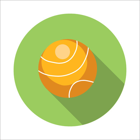 curvilinear: Tennis ball flat icon isolated on white background