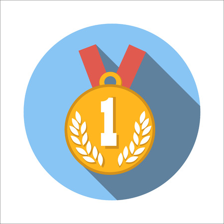1st place: 1st place medal flat icon isolated on white background