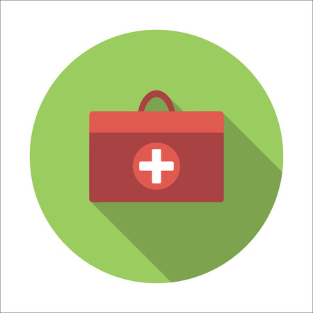 first aid kit: Doctor bag flat icon isolated on white background