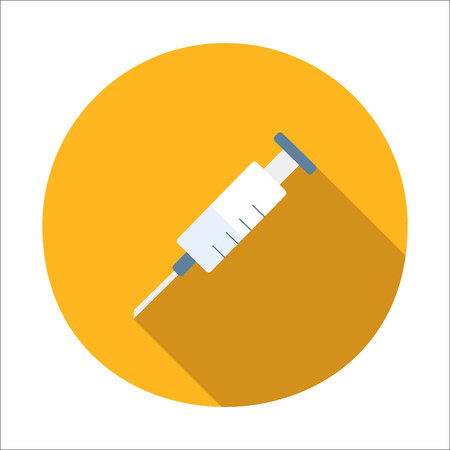 safety first: Syringe flat icon isolated on white background Illustration