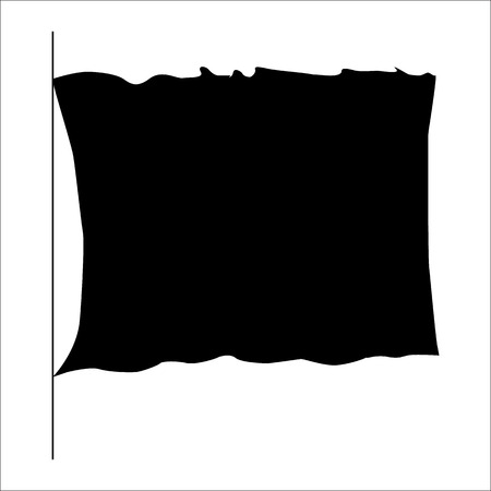 Flag black silhouette isolated on white background Illustration