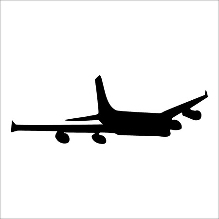 undercarriage: Planes black silhouette isolated on white background Illustration