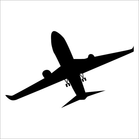 air liner: Planes black silhouette isolated on white background Illustration