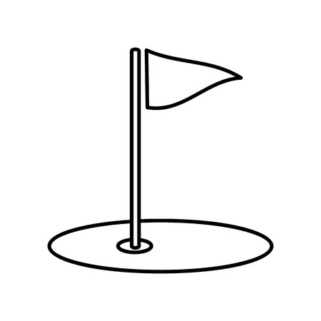 Golf field line icon, thin contour on white background