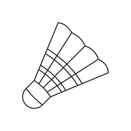 배드민턴 셔틀콕 라인 아이콘, 흰색 배경에 얇은 컨투어 일러스트