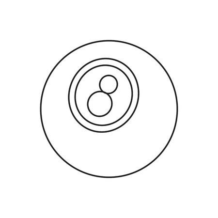 Eightball line icon, thin contour on white background Illustration