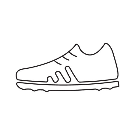outsole: Football boots line icon, thin contour on white background Illustration