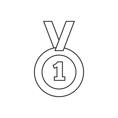 1st place: 1st place medal line icon, thin contour on white background