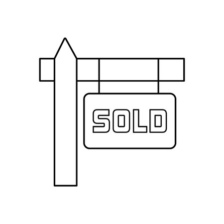 Sold sign line icon, thin contour on white background