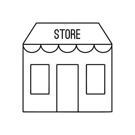 specialty store: Store building line icon, thin contour on white background Illustration