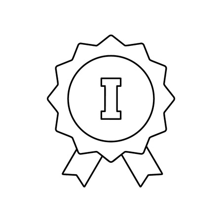 1st place: 1st place ribbon line icon, thin contour on white background