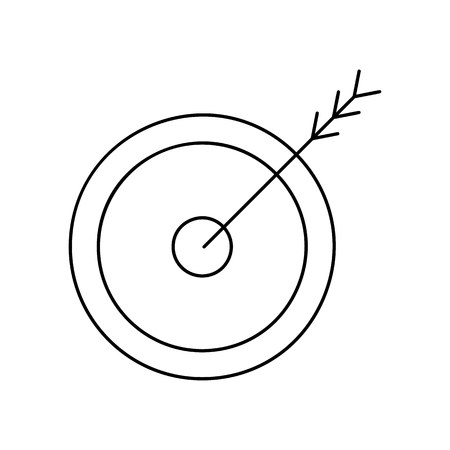 sporting event: Arrow target line icon, thin contour on white background