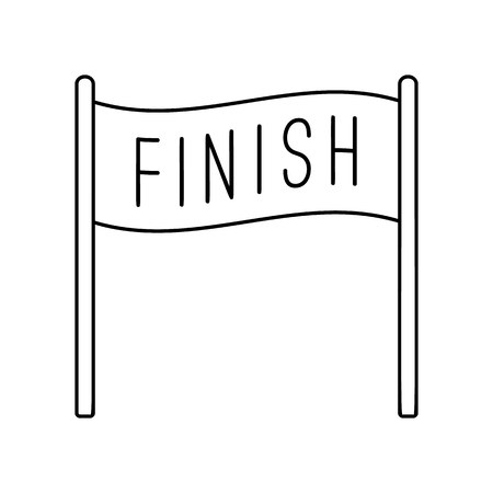 endpoint: Finish banner line icon, thin contour on white background