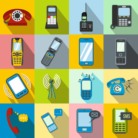 sms payment: Phone flat icons set for web and mobile devices Illustration