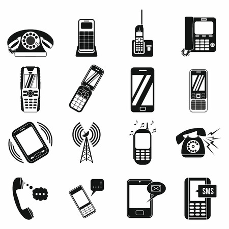 cell phone transmitter tower: Phone simple icons set for web and mobile devices Illustration