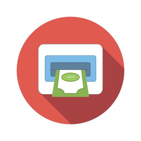 put the key: ATM flat icon isolated on white background