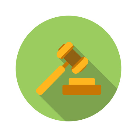 legal icon: Hammer of justice flat icon isolated on white background
