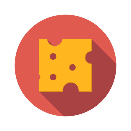 edibles: Cheese flat icon isolated on white background