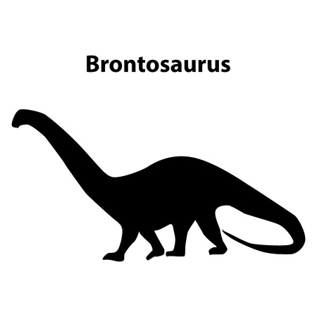 Brontosaurus dinosaur black silhouettes isolated on white background
