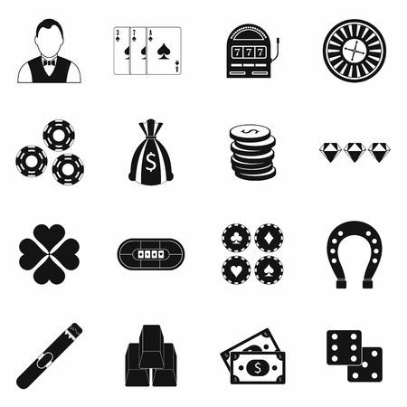 gambling game: Casino simple icons set for web and mobile devices