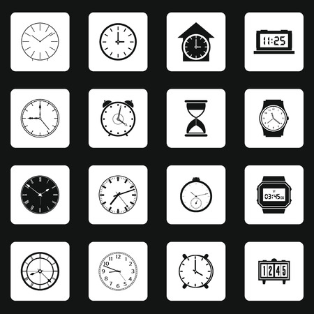 digital clock: Clocks icons set for web and mobile devices