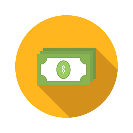 Bundle of money flat icon isolated on white background