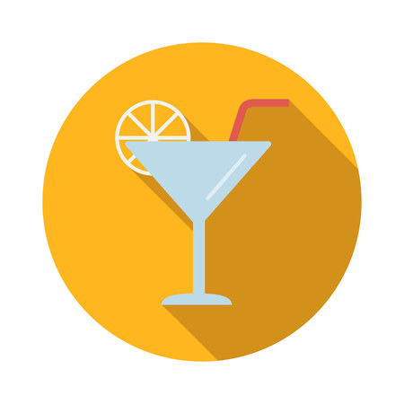 coctail: Coctail flat icon isolated on white background Illustration