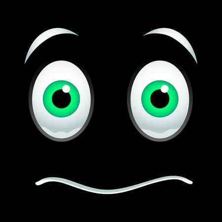 stunned: Stunned emoticon sign on a black background