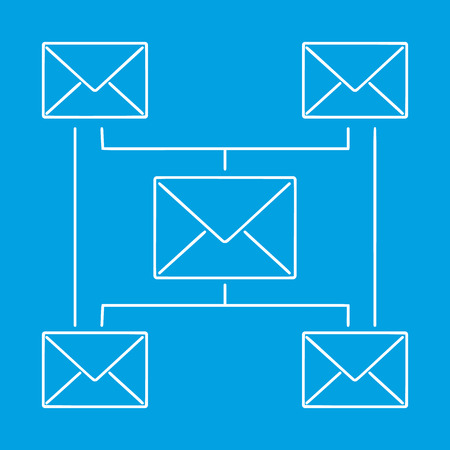 single line: Globe email newsletter contour pictogram. Single line symbol on a blue background