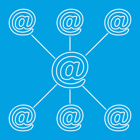 media logo: E-mail spreading line pictogram. One mail might cause many little chain mails. On a blue background