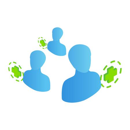 green plus: 3 human symbols with green plus symbols. Isometric icon on a white background