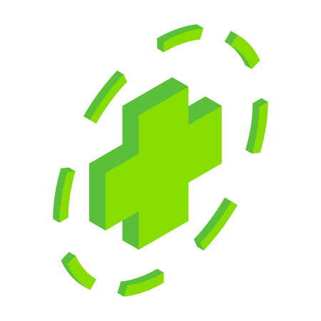active content: Green plus symbol in circle isometric icon. Single symbol on a white background Illustration