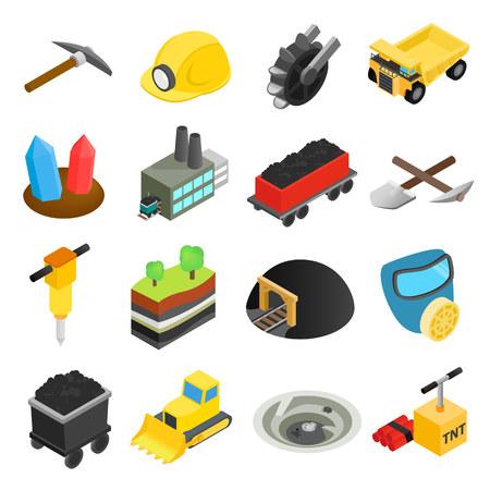 camion minero: Miner�a iconos isom�tricos 3D aislada en el fondo blanco