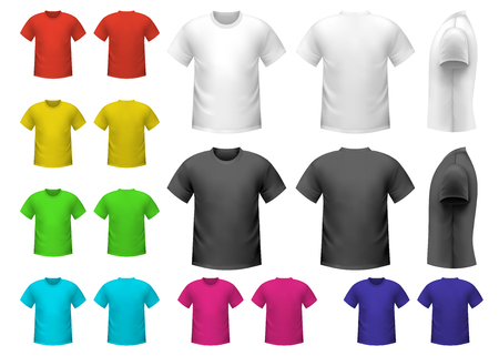 men shirt: Colorful male t-shirts set isolated on white background