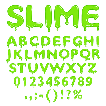 wet: Slime alphabet, numbers and symbols isolated on white background