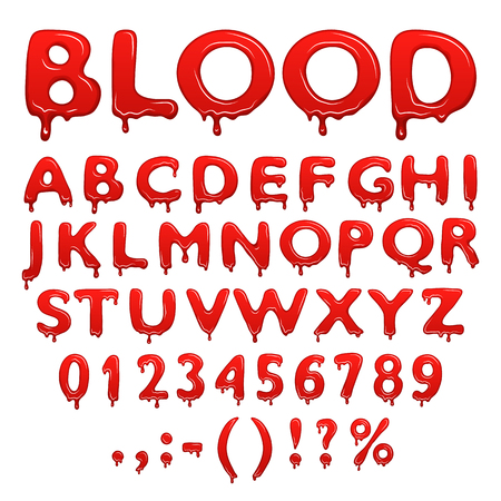 blood splatter: Blood alphabet numbers and symbols isolated on white background