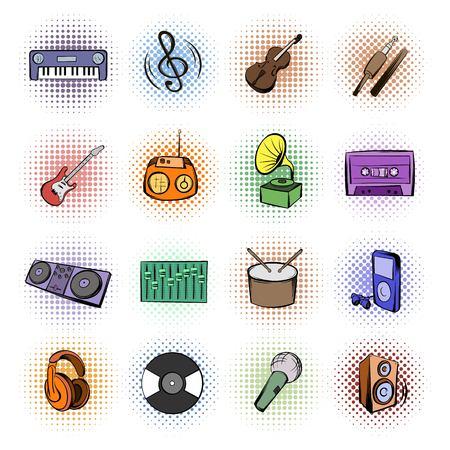 sonido: Iconos de la música cómics conjunto aislado sobre fondo blanco
