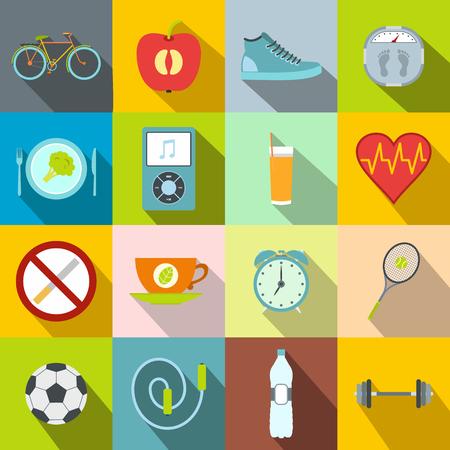 Iconos planos de vida saludable estilo. La comida sana, deporte, símbolos shedule con largas sombras