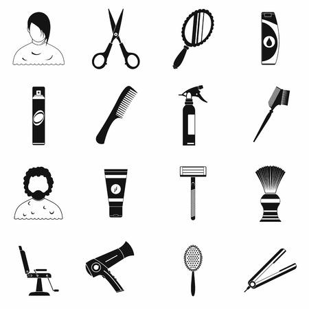 peluquería: Peluquería iconos simples conjunto aislado sobre fondo blanco