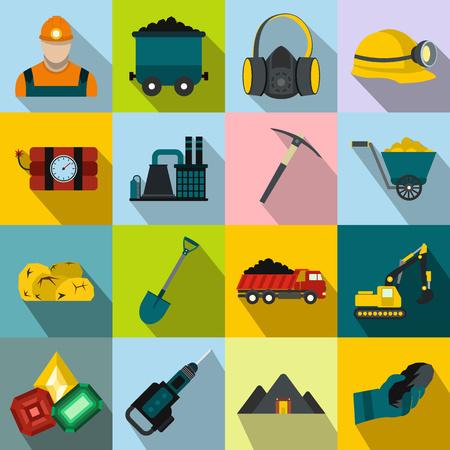 mining icons: Mining icons flat set with miner hammer truck bulldozer
