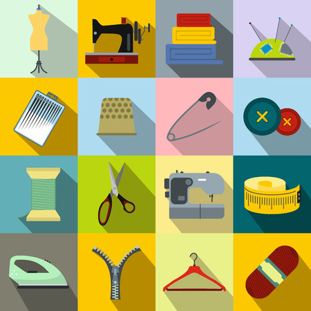 maquinas de coser: Costura plana icono para web y dispositivos m�viles Vectores