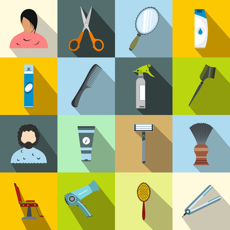 hairdressing scissors: Hairdressing flat icons set. Colored symbols with shadows