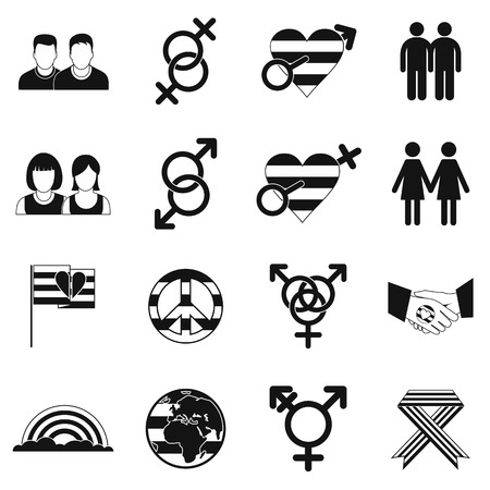 man and woman sex: Gays simple icons set isolated on white background