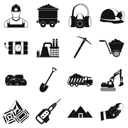mine site: Mining icons simple set with miner hammer truck bulldozer Illustration