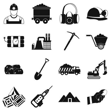 mining icons: Mining icons simple set with miner hammer truck bulldozer Illustration