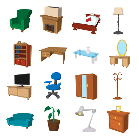 wood furniture: Furniture cartoon icons set. Illustrations of living room and bedroom on a white background