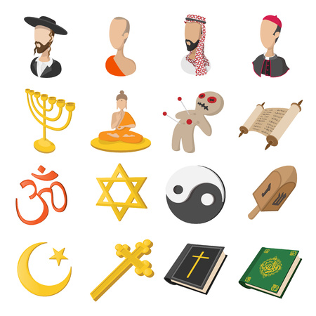 gelt: Different religions cartoon icons set isolated on white background