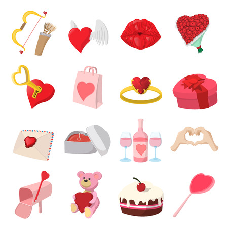 love cartoon: Love cartoon icons set isolated on white background