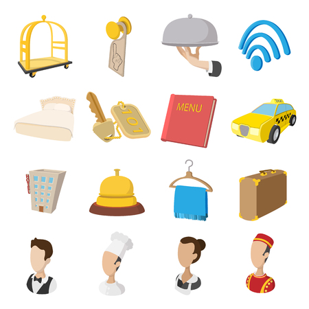 apartment bell: Hotel cartoon style icons set. Service symbols on a white background Illustration