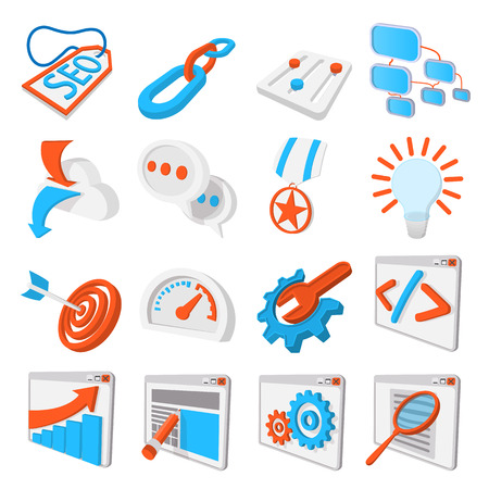 building a social network: Seo 16 cartoon icons set. Blue and orange symbols on a white background Illustration